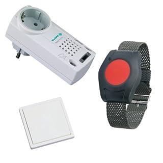 Pflegeruf-Set speziell für Parkinson-Kranke und die Pflege Bettlägeriger mit Funk-Armbandsender, sowie Funk-Sensortaster und Steckdosenempfänger