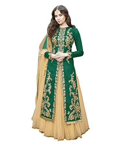 1-Stop-Fashion-Womens-Green-Bhagalpuri-Semi-Stitched-Salwar-Suit