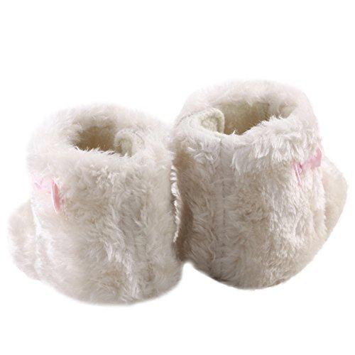 WAYLONGPLUS Baby-Mädchen Schleife weiche Schuhe weiße warmes Fleece Prewalker Stiefel Weiß
