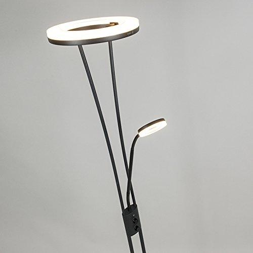 QAZQA Modern Stehleuchte / Stehlampe / Standleuchte / Lampe / Leuchte Divine schwarz Dimmer / Dimmbar / Innenbeleuchtung / Wohnzimmer / Schlafzimmer / Deckenfluter Metall Rund / Länglich / inklusive L - 4