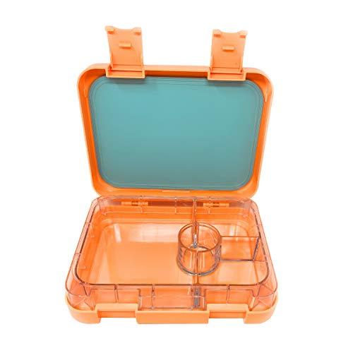 Hot-box-fan (Lunchbox mit 4 Fächern, Bento-Stil, für Mahlzeiten und Snacks, für Kinder, Teenager und Erwachsene, zur Vorbereitung von Mahlzeiten - Zesty Orange)