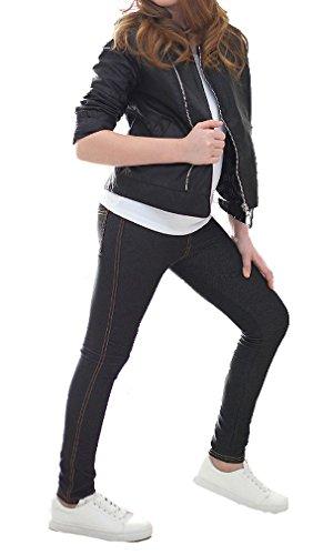 Mädchen Thermo Leggings Leggins Hose Winter Herbst Jeans-Look hk292 140 Schwarz