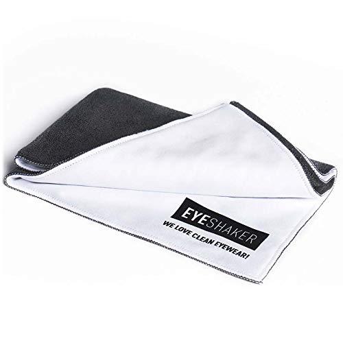 Hochwertiges Brillenputztuch (30 x 21 cm) - Mikrofaser Tuch zur Reinigung Ihrer Brille, dem Display von Handy und Laptop sowie dem Objektiv Ihrer Kamera von EYESHAKER®