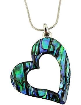 Paua / Abalone Muschel Herz Kettenanhänger aus Neuseeland - Snake Chain