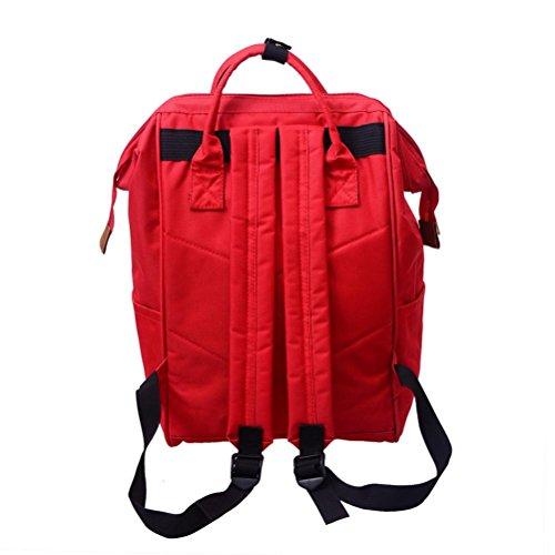 URSING Unisex Einfarbig Rucksack Schulranzen Reiserucksack Backpack Doppelte Umhängetasche Reißverschlusstasche Wickeltasche Wickelrucksack Handtaschen Multi funktioneller Reise Rucksack (Rot) Rot
