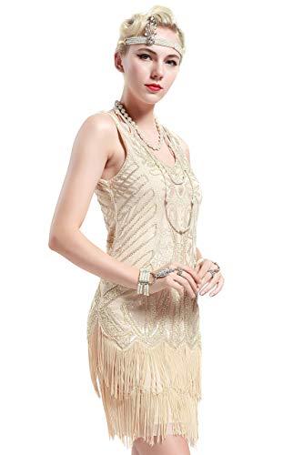 BABEYOND Damen Kleid Retro 1920er Stil Flapper Kleider mit Zwei Schichten Troddel V Ausschnitt Great Gatsby Motto Party Kleider Damen Kostüm Kleid (Beige, XXXL)