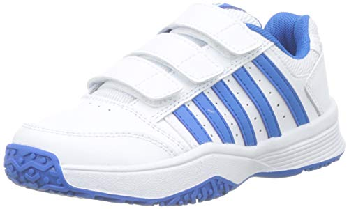 K-Swiss Performance Unisex-Kinder Court Smash Strap Omni Tennisschuhe, Weiß (White/Brilliant Blue 128M), 31 EU (Schuhe Tennis Kinder Jungen)