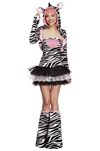 Fever Perücke Blonde Kostüm - Fever Damen Zebra Kostüm, Tutu-Kleid mit abnehmbaren Trägern, Jacke mit Tier Kapuze und Überstiefel, Größe: S, 22798