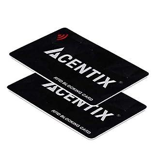 ACENTIX 2 x RFID/NFC Signal Blocker Karte, Kredit-/Debitkartenschutz für Ihren Geldbeutel oder Brieftasche | Keine Batterien erforderlich, keine umständliche Tasche - Schwarz