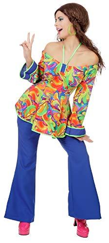 narrenkiste L3203030-46 blau-bunt Damen Hippie Kostüm Fantasy Oberteil -