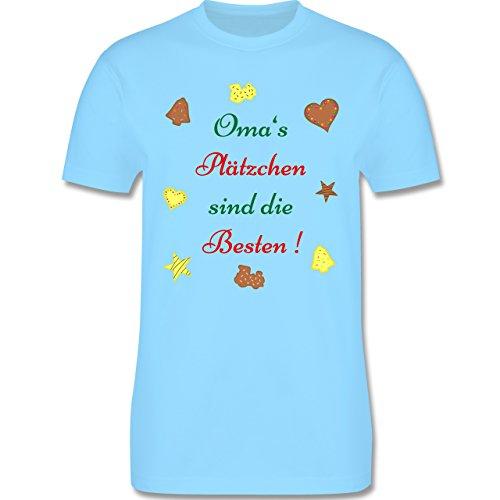 Weihnachten Geschenk für Erwachsene - Oma's Plätzchen sind die Besten Backen - L190 - Premium Männer Herren T-Shirt mit Rundhalsausschnitt Hellblau