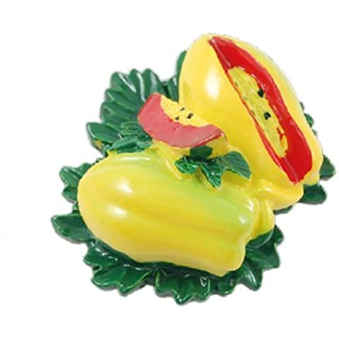 Water & Wood Fridge Green Leaves Yellow Papaya Shaped Sticker