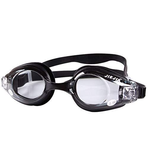 MHP Myopie Schwimmbrille Korrektur Myopie optische Schwimmbrille für kurzsichtige männliche, weibliche, Erwachsene Schwimmer ohne Leckage Anti-Fog 100%(Diopter-0 bis -6,0), schwarz, 2,0