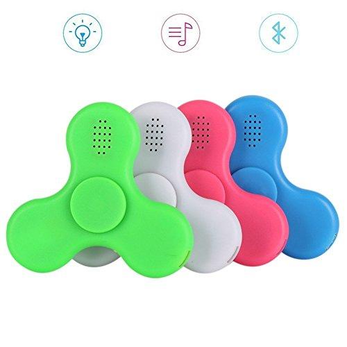 Preisvergleich Produktbild YAMI®NEW Upgrade Fidget Spinner, EDC Hand Spinner Spielzeug mit LED Lichtschalter und MINI Bluetooth Lautsprecher Musik für Autismus und Kinder / Erwachsene (weiß)