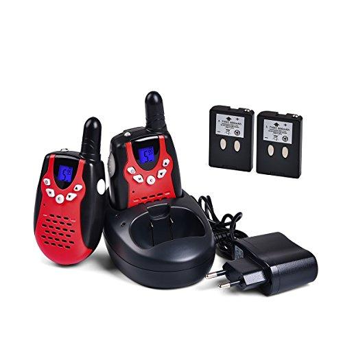 Tyhbelle 2 x Walkie Talkie für Kinder PMR446 lizenzfrei 8 Kanäle mit LCD-Display (2er-Rot)