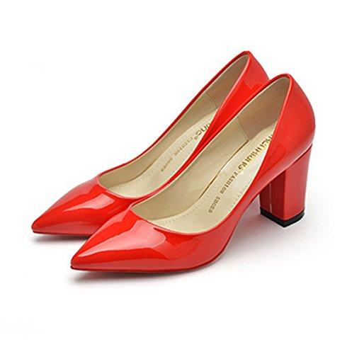 Senhoras Escritório Dedo Ol Bloco Couro Confortavelmente Lazer Apontado Vermelho Antiderrapante Bombas Elegantes Calcanhar Sapatos q6dZC