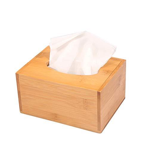 ENXIGN Kosmetiktücher-Box Bambus Handtuchboxrechteckiger Papierhandtuchhalter fürKonsumenten und gewerbliche Serviettenhalter16x12x8.5cm Farbe Holz
