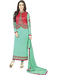 MF Next New Designer Sea Green & Pink Faux Georgotte Embroidered Kotistyle Salwar Suit