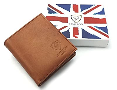 Designer RFID BLOCKING J Wilson Brown Real Genuine Mens High Quality Leather Wallet Purse Gift Box