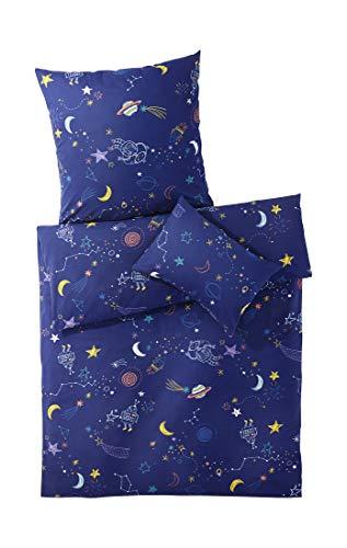 hessnatur Baby Mädchen und Jungen Unisex Biber-Bettwäsche aus Reiner Bio-Baumwolle dunkelblau 100x135+40x60 cm