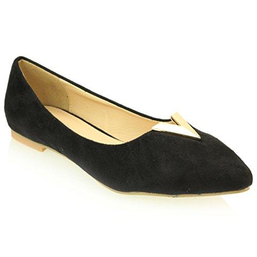 Femmes Dames Soir Casual Confort Ballerinas Plat Pompes Escarpins Sandale Chaussures Taille (Noir, Taupe, Bleu Royal) Noir