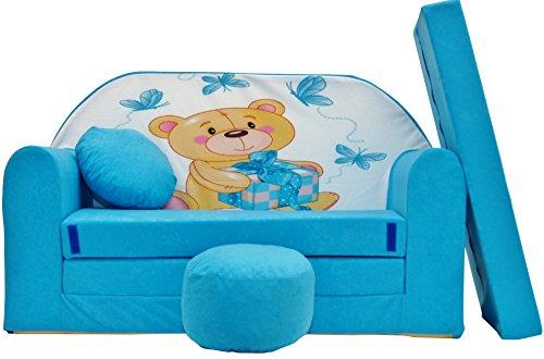PRO COSMO - Sofá Cama B3 de Tela para niños con Puff/reposapiés/Alm