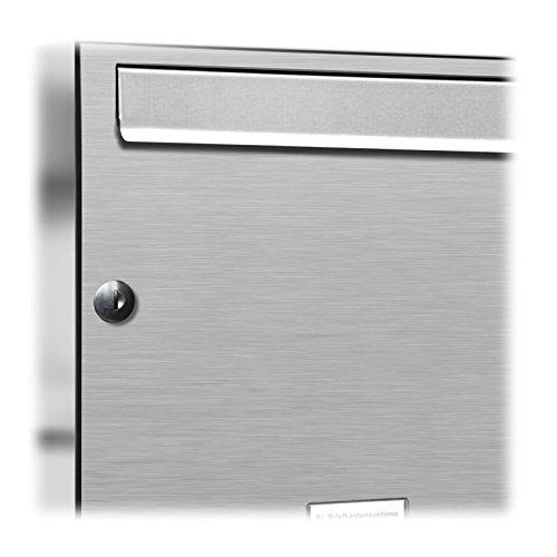 AL Briefkastensysteme 3 er Briefkastenanlage in V2A Edelstahl, Premium Briefkasten DIN A4, 3 Fach Postkasten modern Aufputz - 2