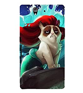 Fuson Designer Back Case Cover for Sony Xperia Z :: Sony Xperia ZC6603 :: Sony Xperia Z L36h C6602 :: Sony Xperia Z LTE, Sony Xperia Z HSPA+ (Angel cat hairy hill fish)