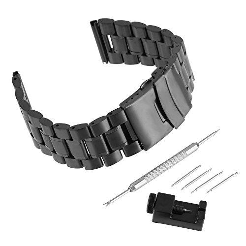 BEWISH 24mm Uhrarmband Edelstahl Ersatzband Solide Kurve Bogenlinie Metall Uhr Band Riemen Uhrenarmbänder Ersatz Edelstahlschliesse Faltschließe Uhr Armband Smart Watch Wrist...