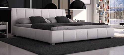 Bett Luna 180x200cm Doppelbett / Polsterbett / Designerbett / Kunstleder - Weiß