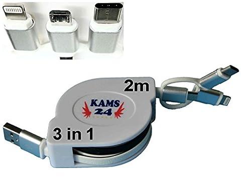 2m 3in1 USB-Ladekabel ausziehbares Roll Up Datenkabel Sync, 2 Meter