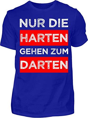 Kreisligahelden T-Shirt Herren Lustig Nur die Harten gehen zum Darten - Kurzarm Shirt Baumwolle mit Spruch Aufdruck - Hobby Freizeit Fun Dart Darts 180 (XL, Blau)