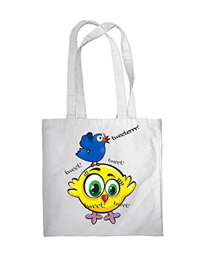 Einkaufstasche Eco Singing Funny Birds 2Tote Beach Schulter Handtasche weiß