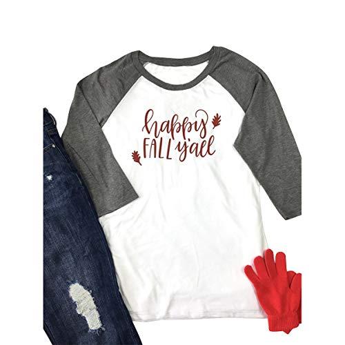 CNBJMAZA Glücklicher Fall Yall Raglan-T-Shirt Frauen 3/4 Hülsen-Farben-Block O Ansatz-Baseball - Hand Block Gedruckt Baumwolle Rock