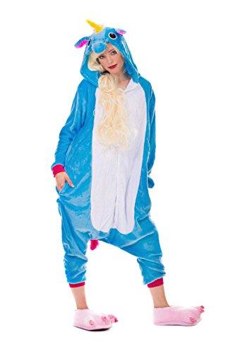Einhorn Pyjamas Kostüm Jumpsuit Erwachsene Unisex Tier Cosplay Halloween Fasching Karneval Plüsch Schlafanzug Tierkostüme Anzug Flanell, M,Blau (Mischung Anzug)