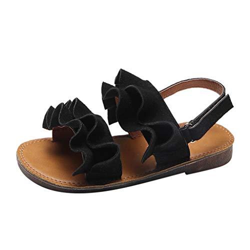 feiXIANG Kleinkind Sandalen Mädchen Baby Prinzessin Shoes Süß Rüschen Sandals Wanderschuhe Sommer Flach Schuhe(Schwarz,21) -