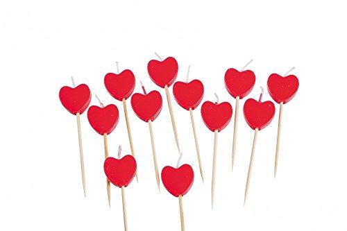 Kerzen Herzen auf Holzpick für Muffins ca. 7cm