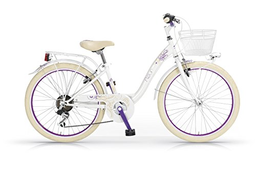 Bicicleta MBM Fleur 26 'Mujeres 6S marco de acero - incluyendo basket (White)
