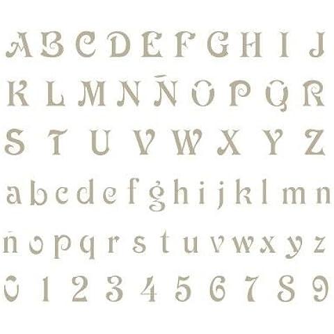 Stencil Mini Deco Abecedario 008. Medidas aproximadas: Medida exterior del stencil: 12 x 12 cm Medida del diseño:0,9 x 0,8 cm Medida de la figura 1: 0,8 x 0,5