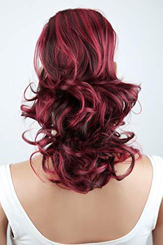 PRETTYSHOP Haarteil Zopf Pferdeschwanz Haarverdichtung Haarverlängerung VOLUMINÖS 40cm schwaru rot mix #2H113A PH223