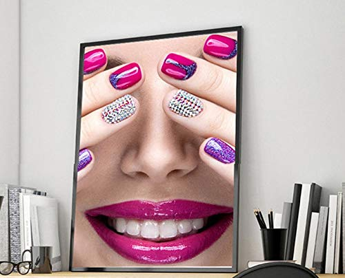 Wsxwga Make Up Fashion Beauty Nagelstudio Beauty Shop Dekor Wand Kunst Leinwand Malerei Poster und Drucke Kunst Bild Mädchen Wand Poster 30 * 40cm -