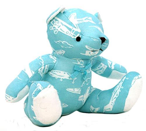 Gestickt Interlock (Cath Kidston Teddybär in Mono-Flugzeugen, Aqua Blue)
