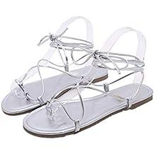 7df58806ce1405 Goyajun Sandali Piatti Gladiatore Donna - Open Toe Cinturino alla Caviglia  Lace Up Scarpe Comode per