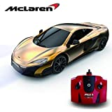 McLaren 675LT Remote Controlled Car for Kids with Working Lights in Gold, Electric Radio Controlled On Road RC Car Boys Girls Toys, Official Licensed 1:24 Model, 2.4Ghz.