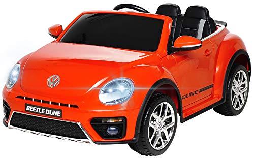 Actionbikes Motors Kinder Elektroauto VW Beetle Käfer - Lizenziert - 2 x 40 Watt Motoren - 2,4 Ghz Fernbedienung - Eva Vollgummi Reifen (Rot)