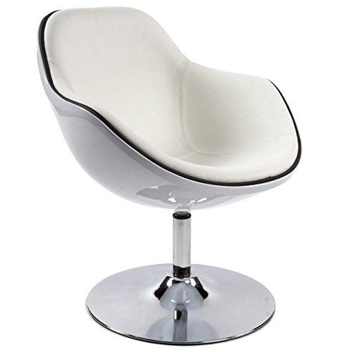 Kokoon design poltroncina girevole 360° in ecopelle e abs bianco