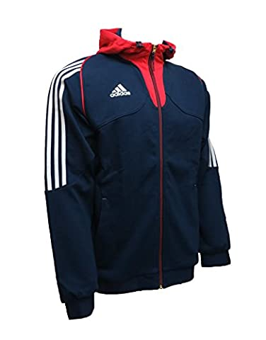 Adidas Homme Sweats à capuche Veste de sport Mens Hoody Full Zip Hooded Sweatshirt Training Athletic Hooded Top Navy Sizes XS-3XL F90331 New (S-M 38
