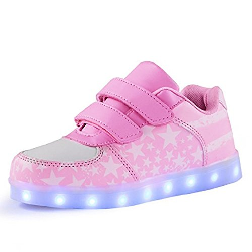 DoGeek Zapatos Led Niñas Deortivos para 7 Color USB Carga LED Luz Glow USB Flashing Zapatillas niño...