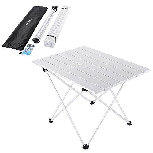 Yahill tavolo da campeggio pieghevole in alluminio rotolo in 3 misure con borsa da trasporto per interni ed esterni, picnic, spiaggia, escursionismo, viaggi, pesca(argento- l)