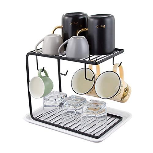 Porte-café en métal avec support pour organisateur, support pour sécheuse de plateaux à 2 niveaux pour comptoir, bureau | Support d'affichage pour le séchage des tasses de cuisine avec 6 crochets